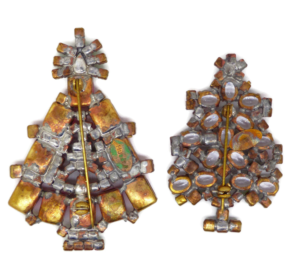 Husar D Czech Glass Christmas Tree Brooches - Vintage Lane Jewelry
