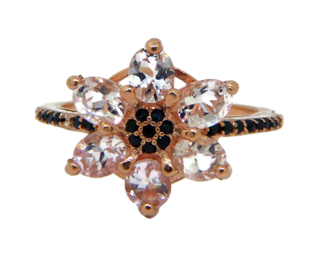 Morganite and Black Spinel 14k Rose Gold over sterling Flower Ring - Vintage Lane Jewelry