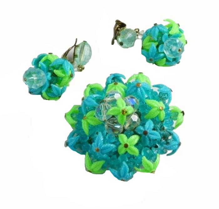 Western Germany Blue and Green Plastic Leaves and Crystals Demi Parure - Vintage Lane Jewelry