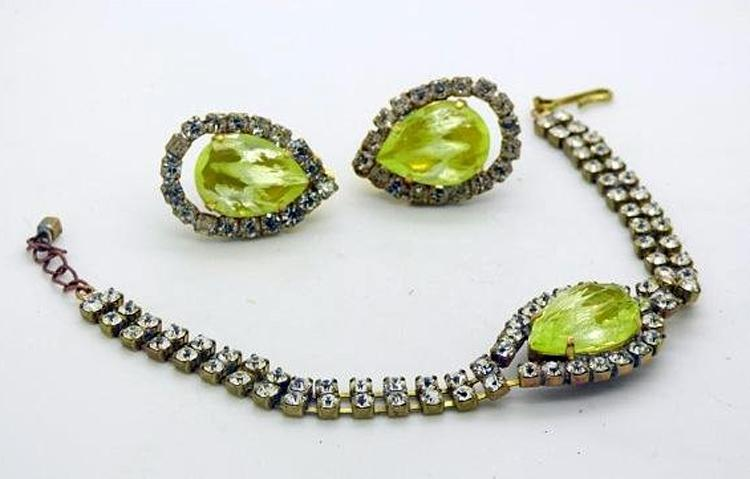 Czech Vaseline Uranium Glass Kutz CZ Rhinestone Bracelet and Clip Earring Set - Vintage Lane Jewelry