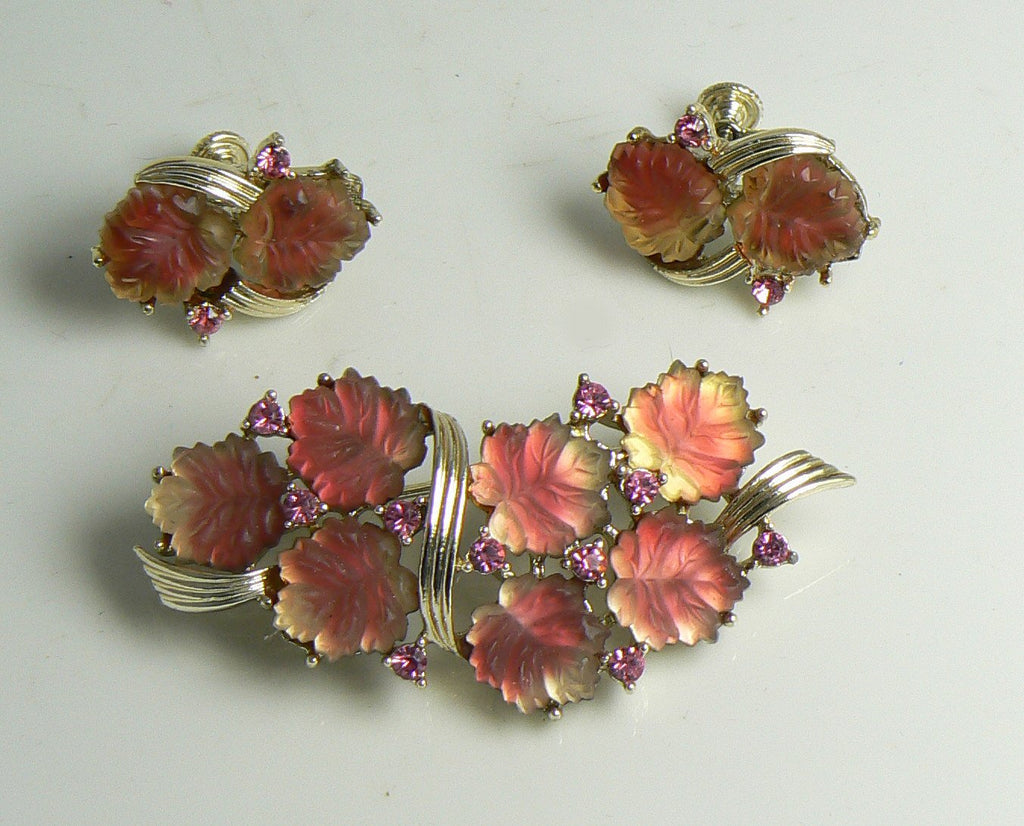Vintage Coro Molded Glass Leaves Rhinestone Parure, Necklace, Bracelet, Brooch, Earrings - Vintage Lane Jewelry