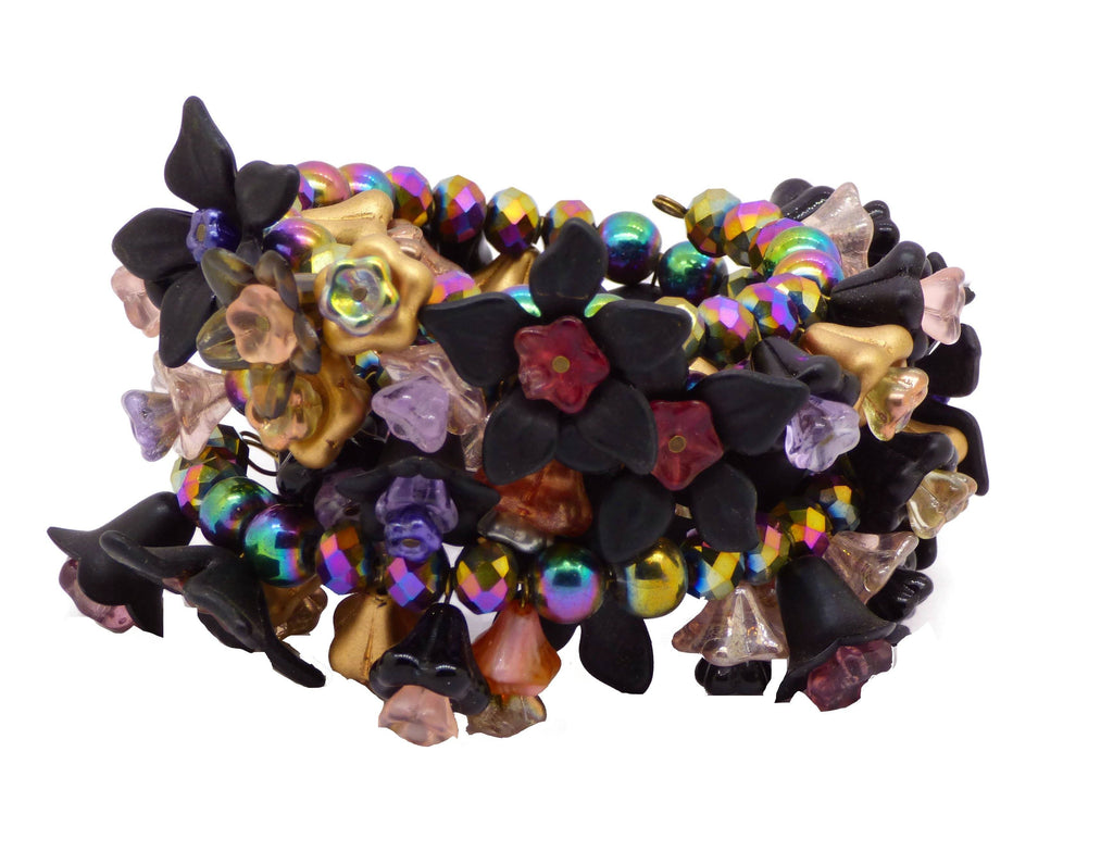 Flowers Black, Gold and Carnival Glass Beads Bracelet - Vintage Lane Jewelry