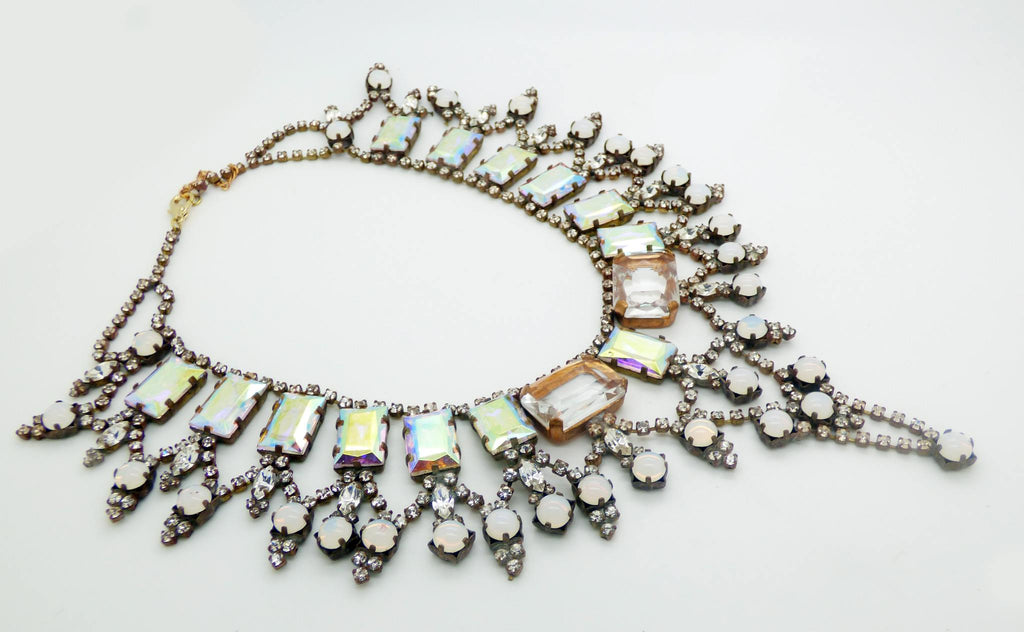 Czech Glass Peach AB Rhinestone Statement Necklace - Vintage Lane Jewelry