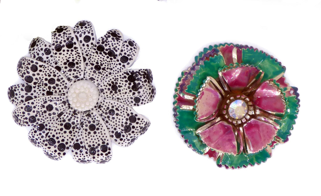 Enamel Flower Pins, 4 pins, 1 Clip Earrings, Flower Brooches - Vintage Lane Jewelry
