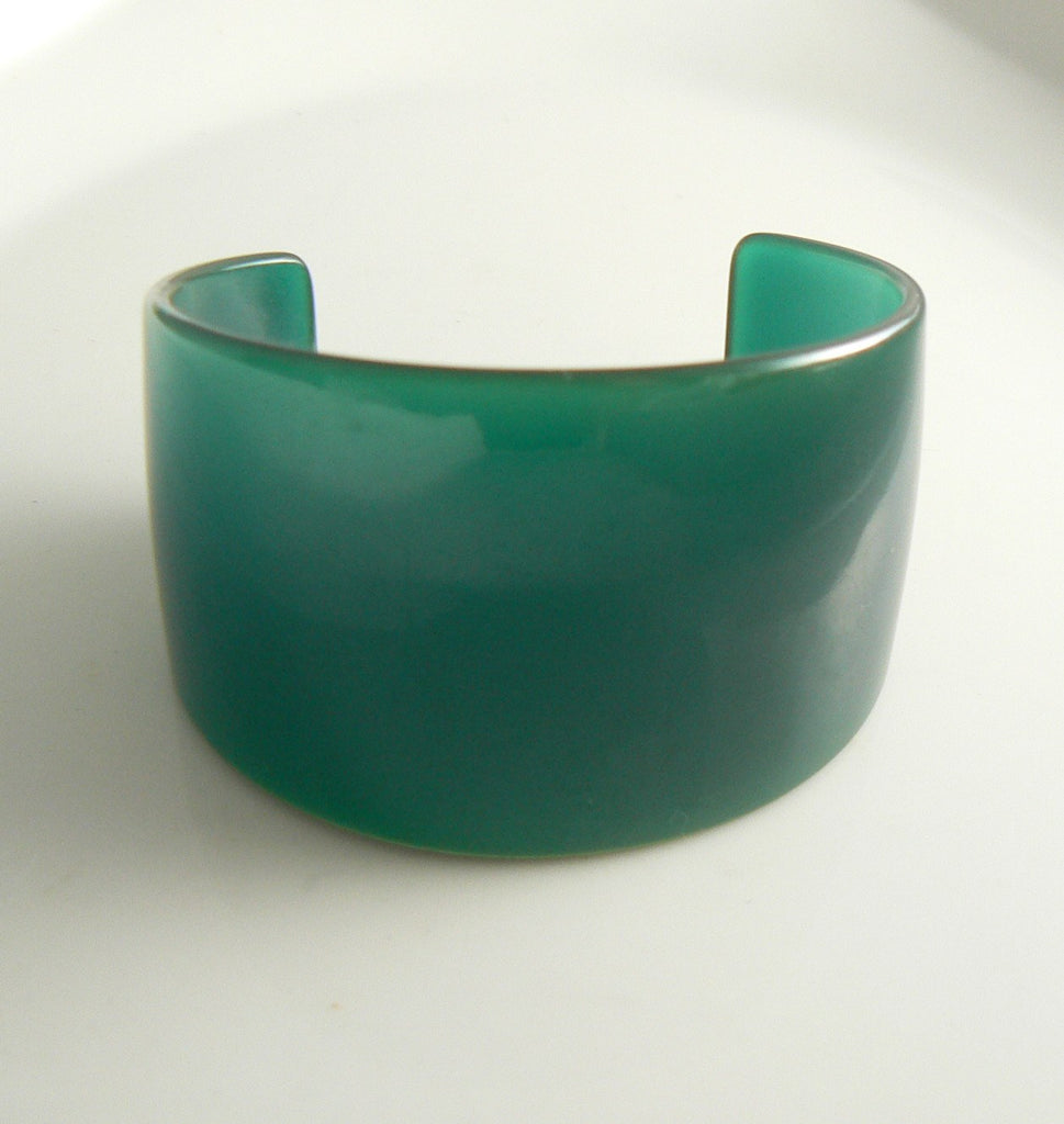 Vintage Extra Wide Bakelite Bangle Bracelet Translucent Turquoise Blue - Vintage Lane Jewelry