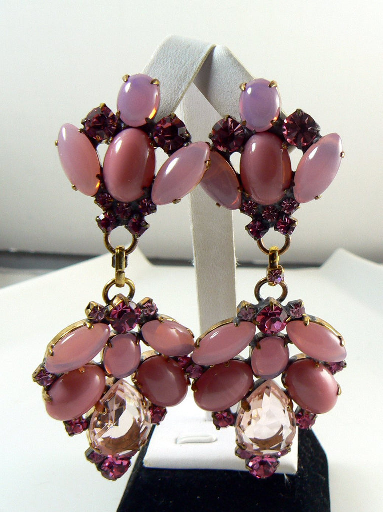Czech Glass Shades of Pink Dangle Pierced Style Earrings - Vintage Lane Jewelry