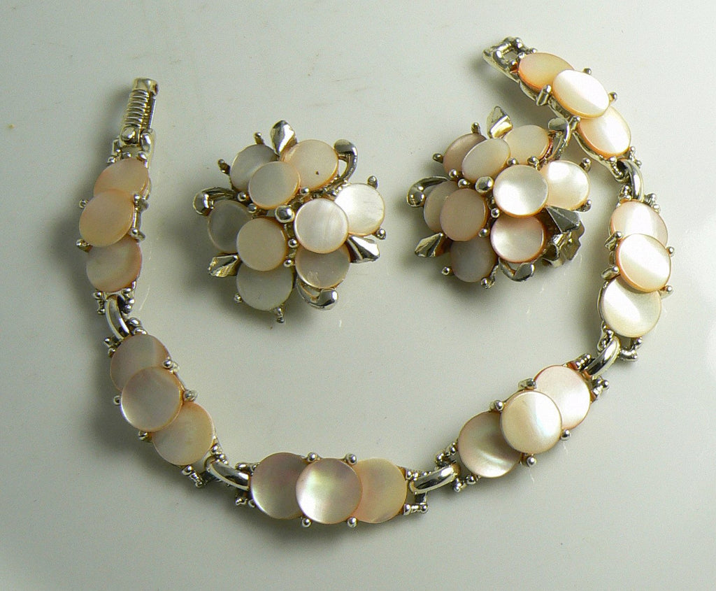 Marhill Mother Of Pearl Bracelet And Earrings Peachy Pink Color - Vintage Lane Jewelry
