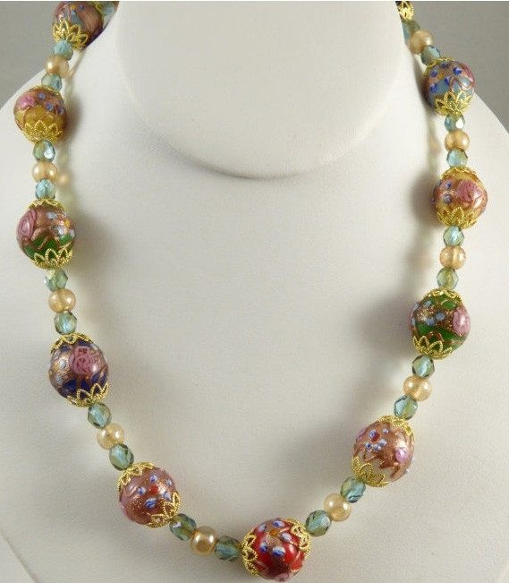Venetian Wedding Cake Necklace with multi-colored beads - Vintage Lane Jewelry