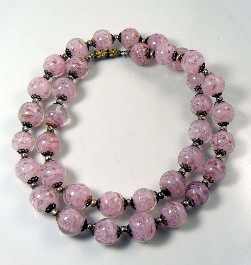 Venetian Frosted Pink Murano Glass Necklace - Vintage Lane Jewelry