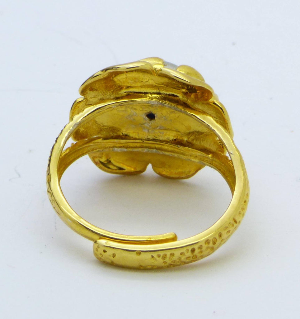 Mood Ring Gold Rose 10mm Mood Stone Ring, adjustable - Vintage Lane Jewelry