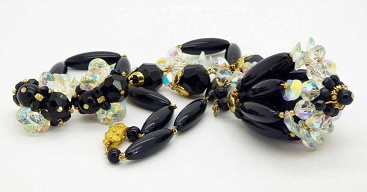 Vintage Vendome AB Crystal Black Beaded Necklace and Clip Earrings - Vintage Lane Jewelry