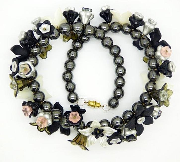 Black Obsidian Beaded Lucite Flower Necklace - Vintage Lane Jewelry