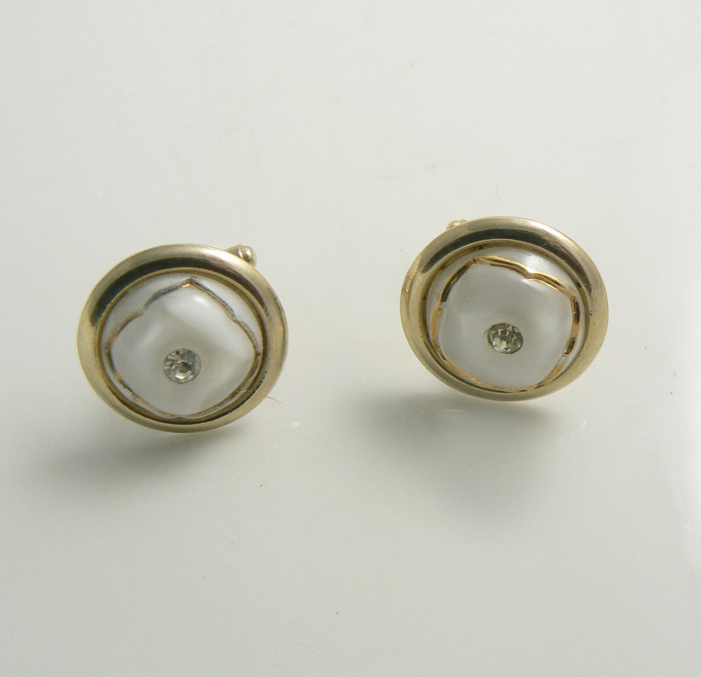 Vintage White Glass and Rhinestone Cuff Links Cufflinks - Vintage Lane Jewelry