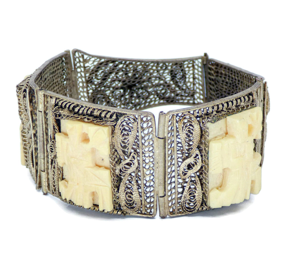 Antique Chinese Silver Filigree 3 Panel Hand Carved Bovine Bone Bracelet - Vintage Lane Jewelry