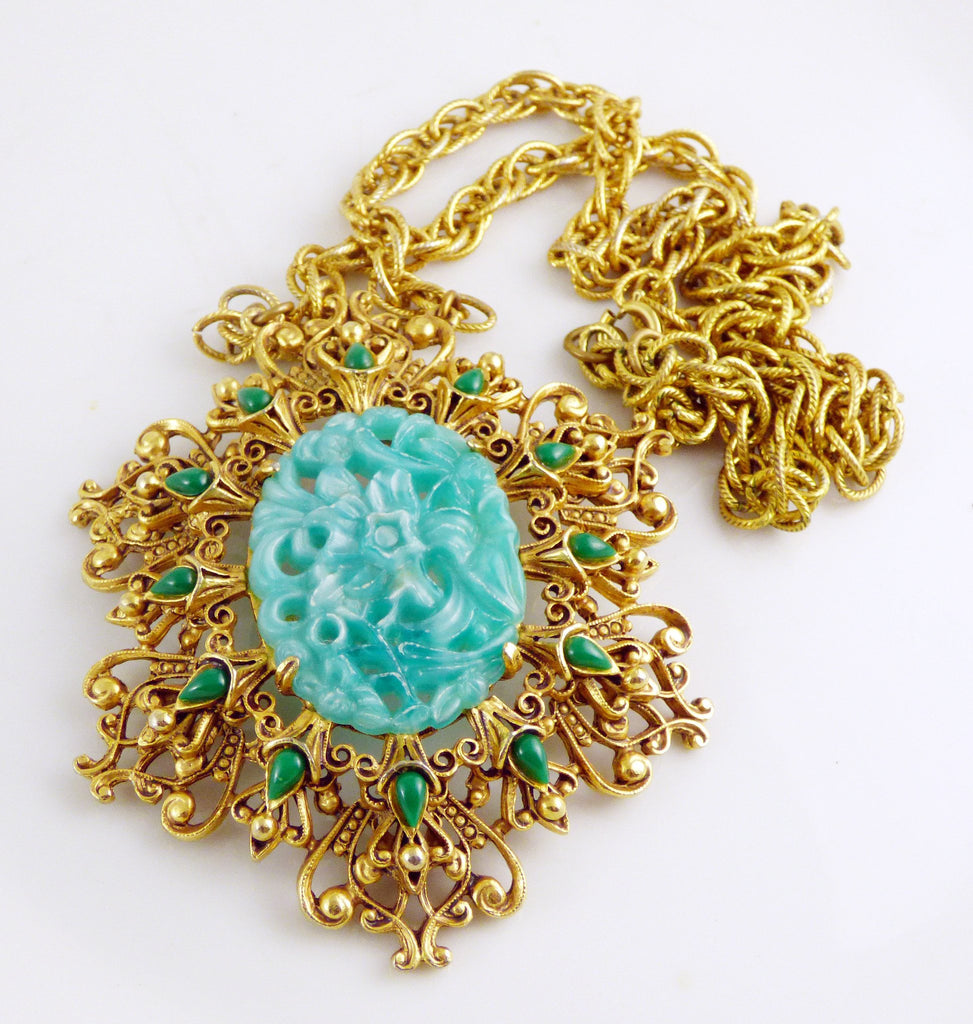 Vintage Florenza Molded Jade Glass Pendant Necklace, Asian Style - Vintage Lane Jewelry