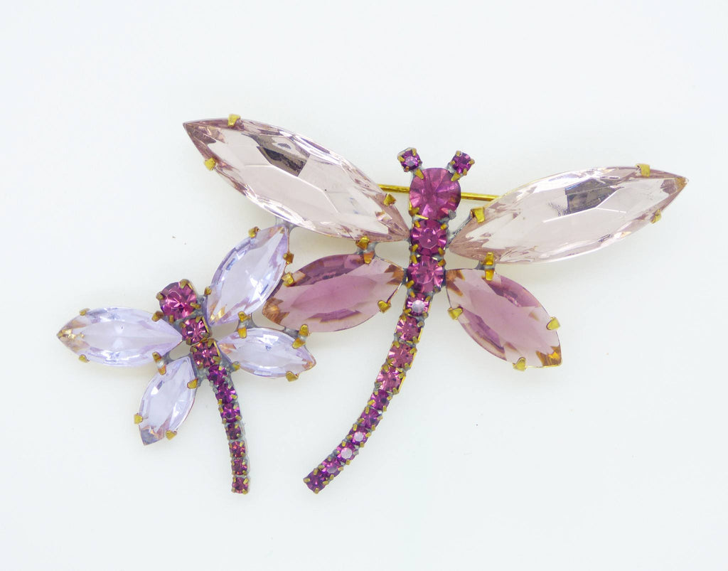 Czech Glass Lavender and Purple Rhinestone Double Dragonfly Brooch, Figural Pin - Vintage Lane Jewelry