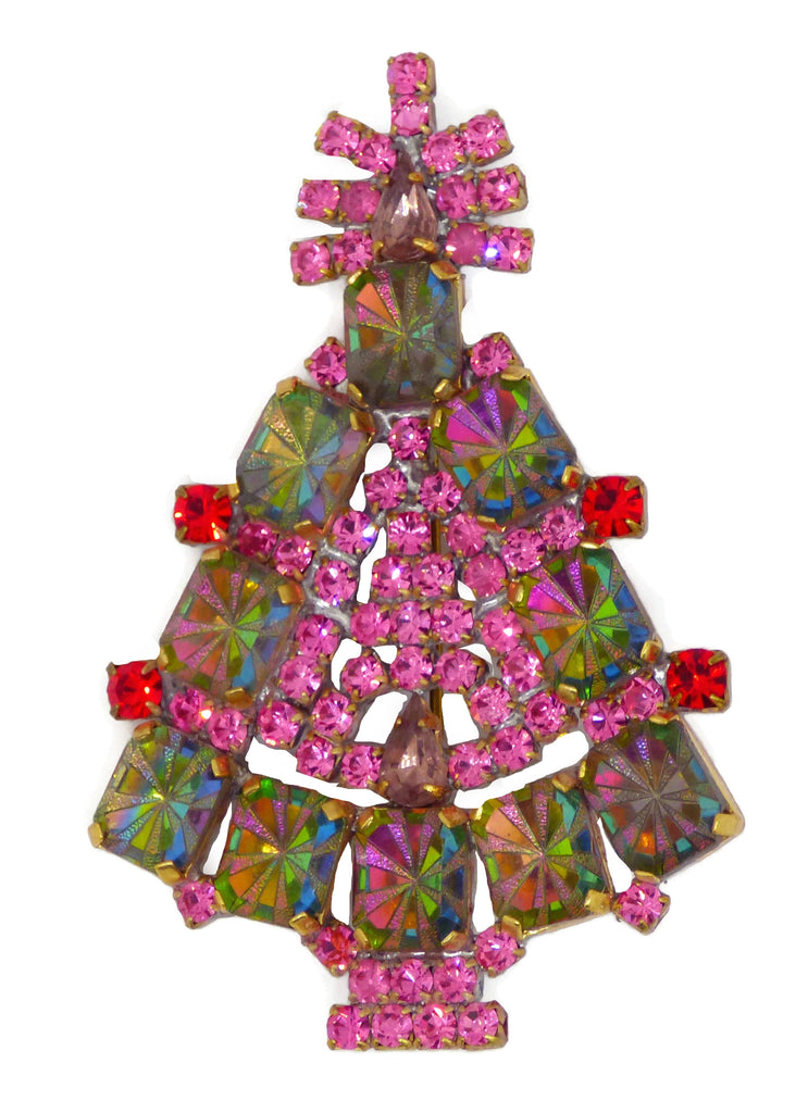 Pink Rhinestones and 3D Watermelon Stones Christmas Tree Brooch - Vintage Lane Jewelry