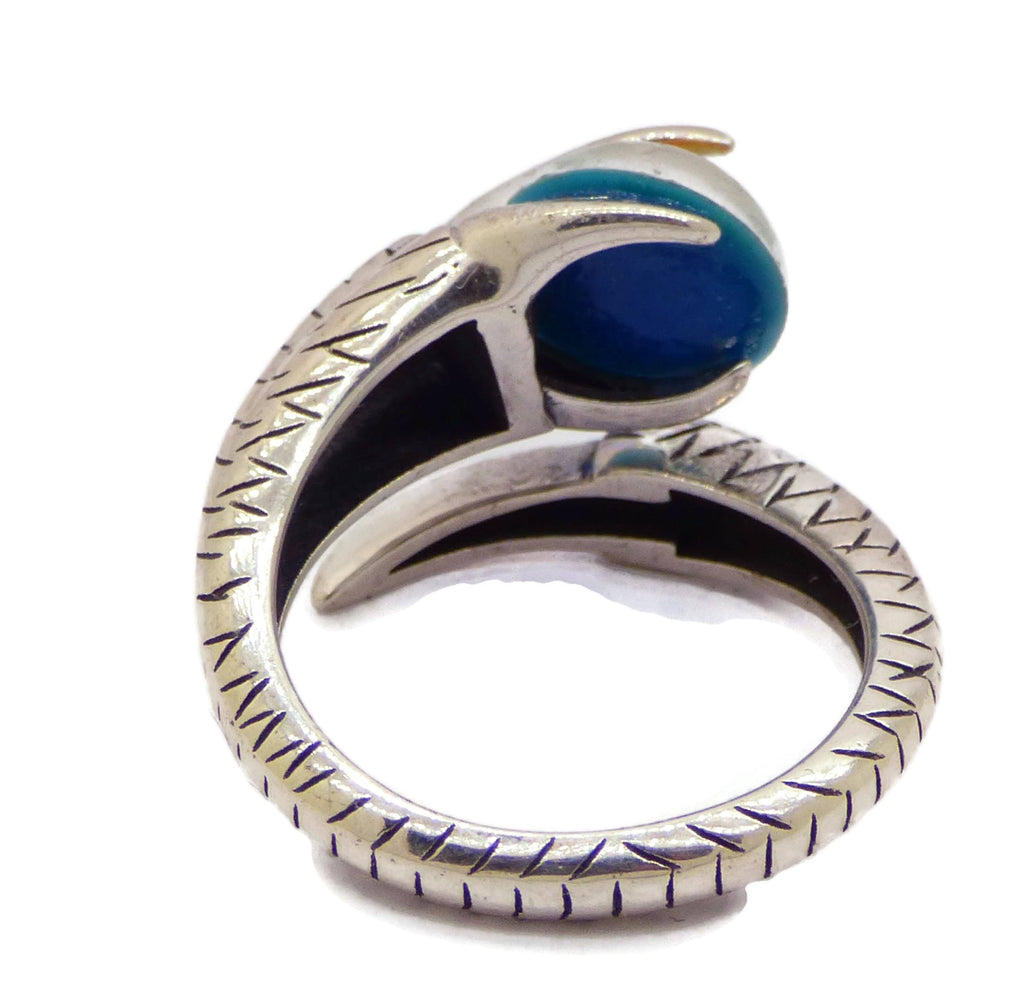 Sterling Silver Dragon Claw Oval Mood Stone Unisex Ring - Vintage Lane Jewelry