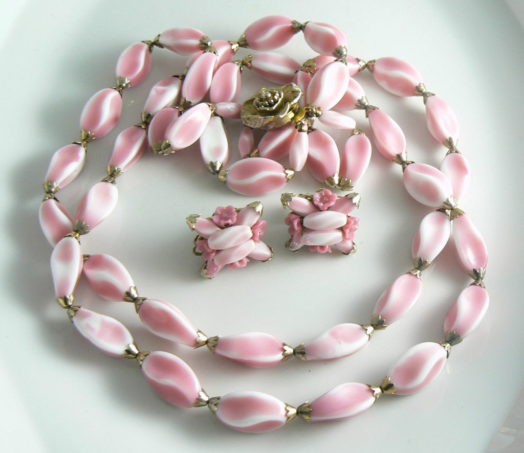 Alice Caviness Double Strand Pink Glass Necklace And Earring Set - Vintage Lane Jewelry
