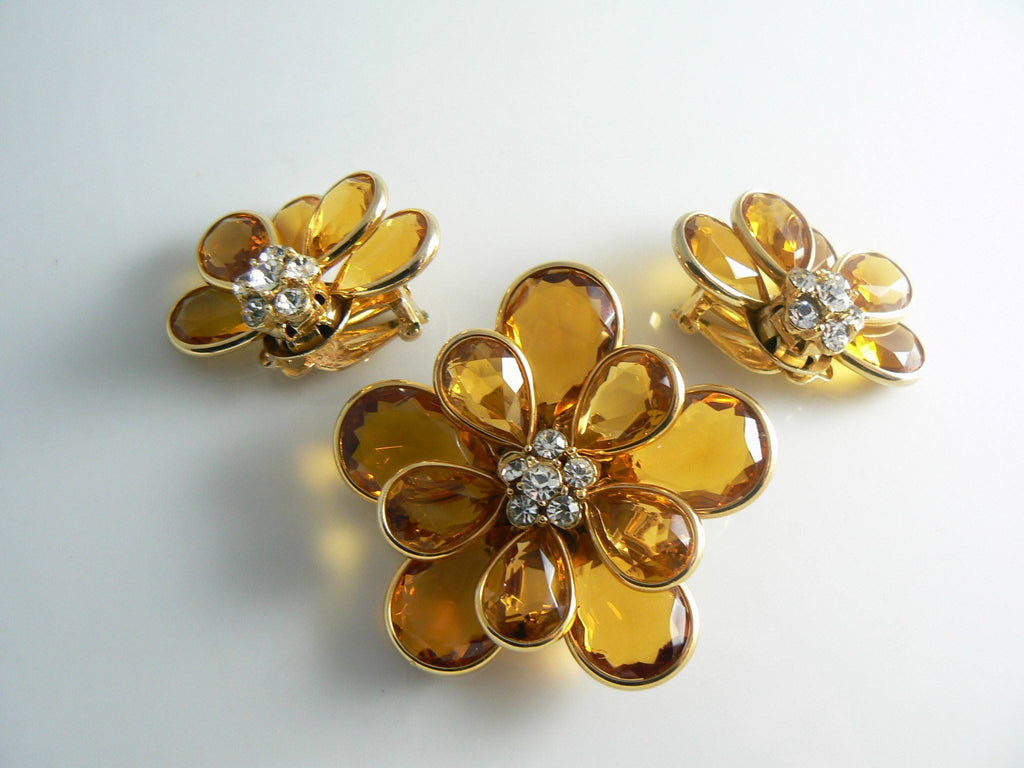Vintage Citrine Colored Glass And Crystal Rhinestone Demi Parure - Vintage Lane Jewelry