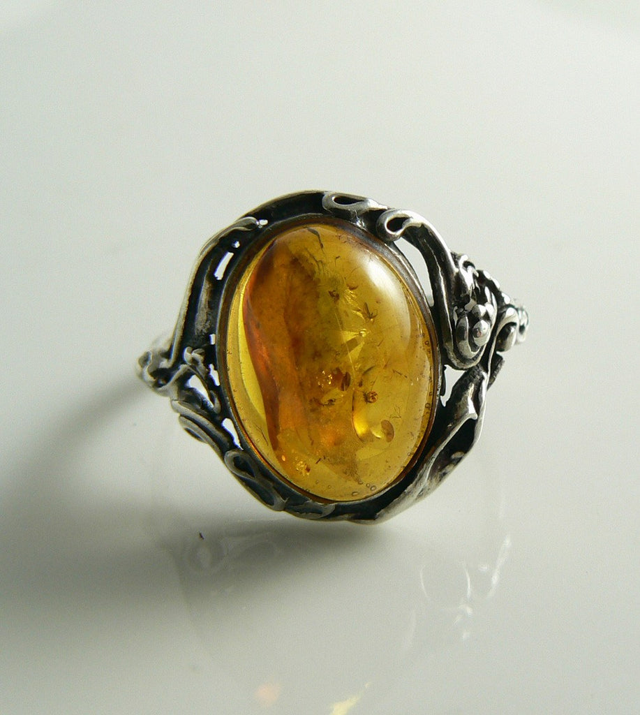 Baltic Amber Sterling Silver Filigree Ring - Vintage Lane Jewelry
