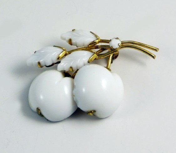 Vintage Austria Milk Glass Cherries Brooch - Vintage Lane Jewelry
