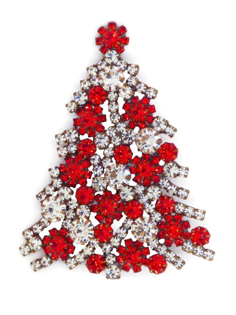 Red Rhinestone Ornaments Christmas Tree Brooch - Vintage Lane Jewelry