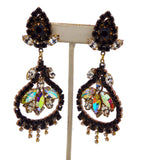 Black and White Czech Glass Rhinestone Clip Dangling Earrings - Vintage Lane Jewelry