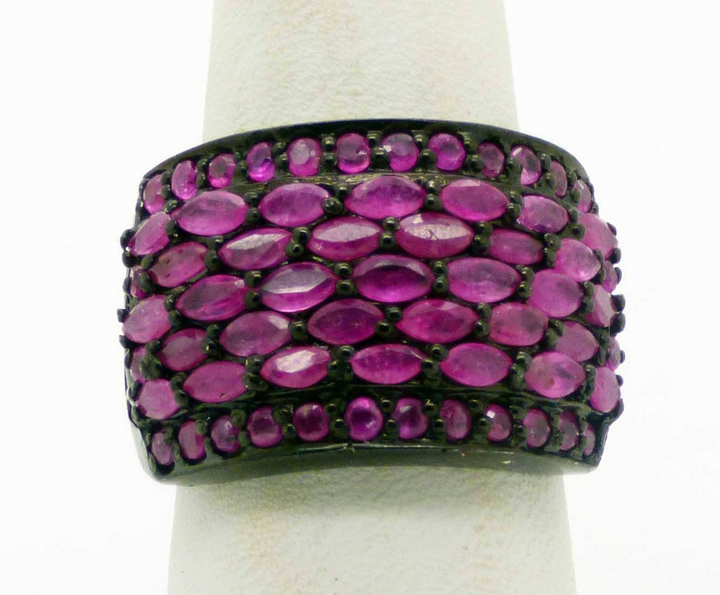Marquise and Round cut Natural Ruby Black Rhodium over Sterling Silver Ring, Size 7 - Vintage Lane Jewelry