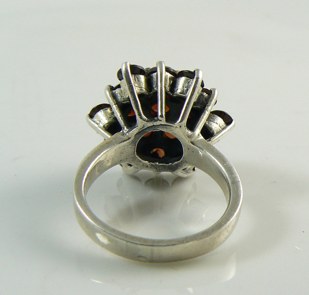 Vintage Sterling Silver Large Garnet Cluster Ring - Vintage Lane Jewelry