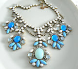 Czech Glass Opaque Blue And White Statement Necklace - Vintage Lane Jewelry