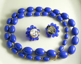 Royal Blue Bead Monet Necklace Signed Necklace Earring Set - Vintage Lane Jewelry