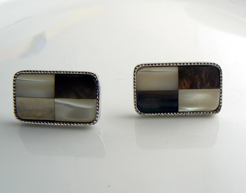 Vintage Hickok MOP Checkered Cufflinks - Vintage Lane Jewelry
