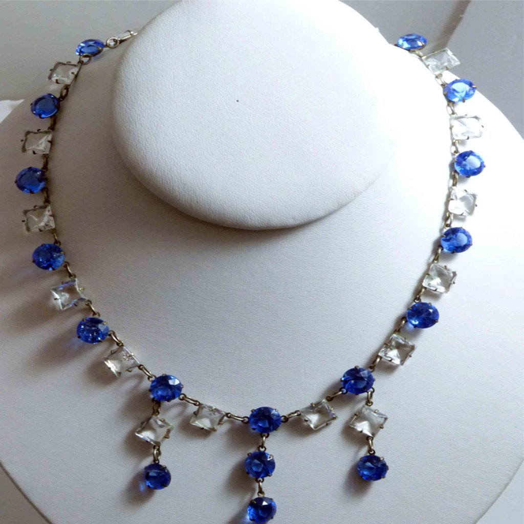 Art Deco Sapphire Blue and Clear Drippy Crystal Necklace - Vintage Lane Jewelry