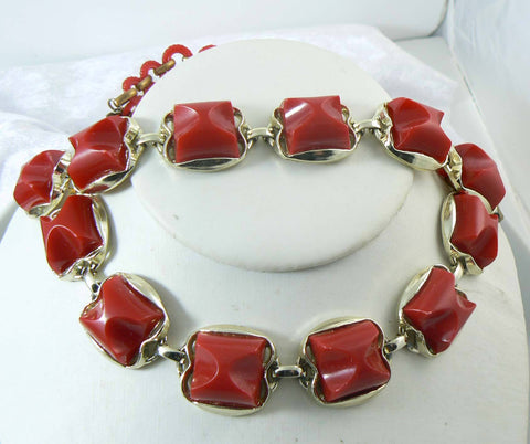 Vintage Early Plastic Apples and Leaves Necklace, Black Lucite Chain, Big Red Apples