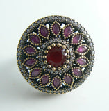Statement Huge Turkish Ruby Topaz Sterling Silver Ring - Vintage Lane Jewelry