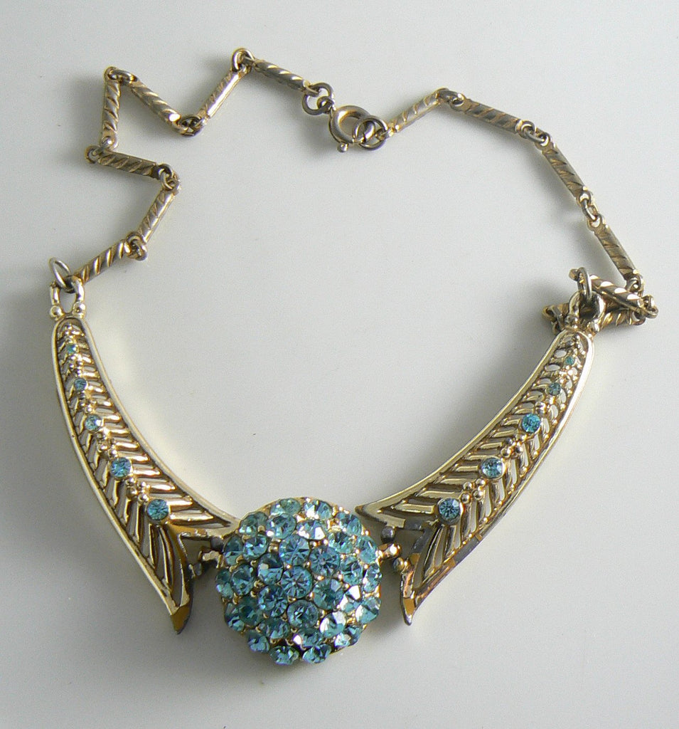 Vintage Sky Blue Rhinestone Gold Tone Chain Link Choker Necklace - Vintage Lane Jewelry