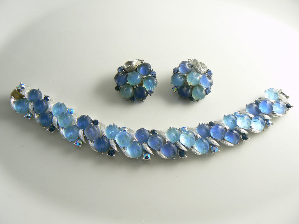 Lisner Shades Of Blue Molded Glass Rhinestone Bracelet Earring Set - Vintage Lane Jewelry