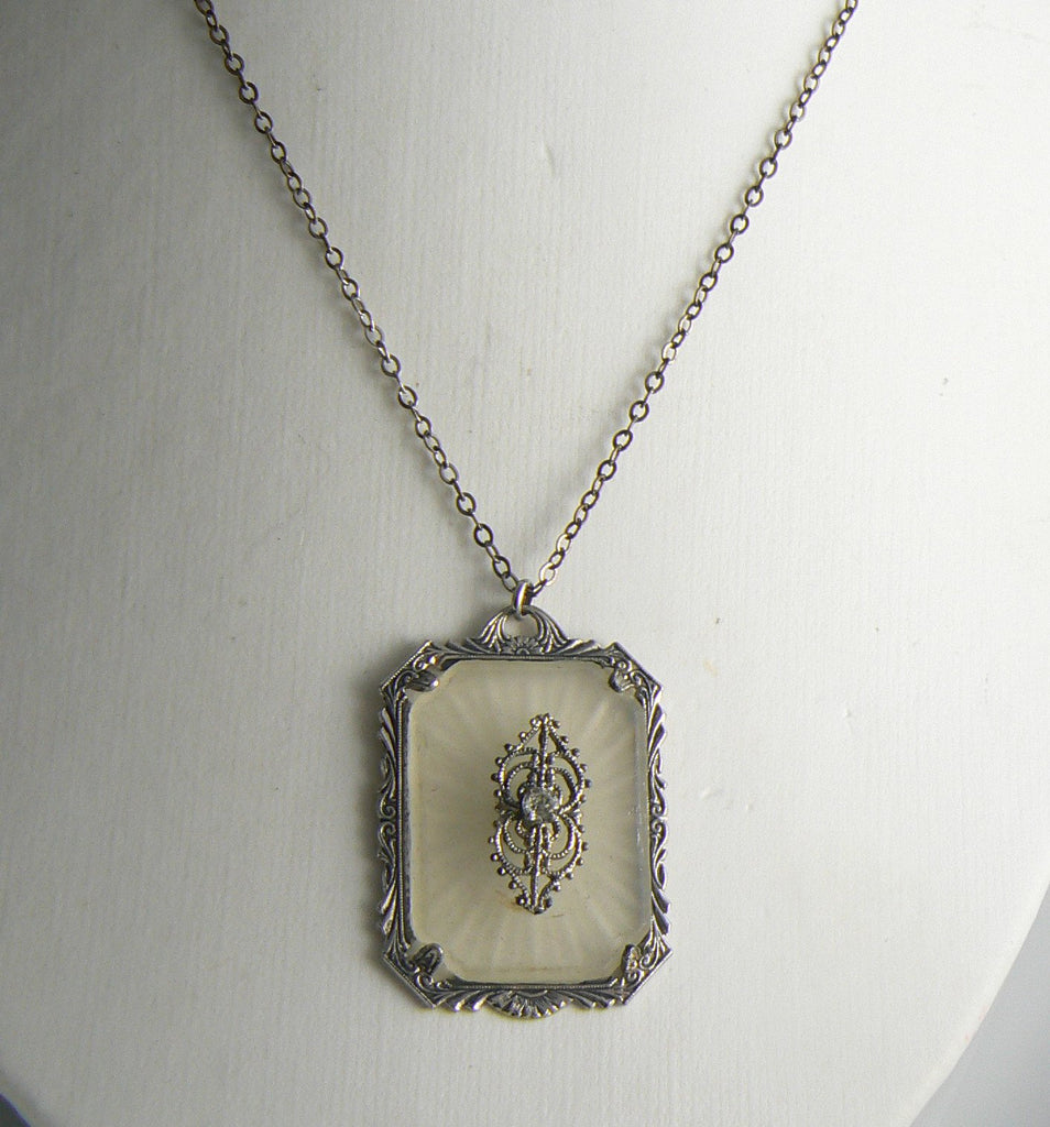 Large Gatsby Era Art Deco Camphor Glass Rhodium Plated Filigree Necklace - Vintage Lane Jewelry