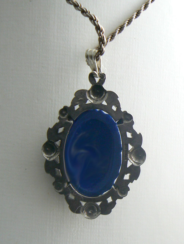 Sterling Marcasite Molded Lapis Glass Necklace - Vintage Lane Jewelry