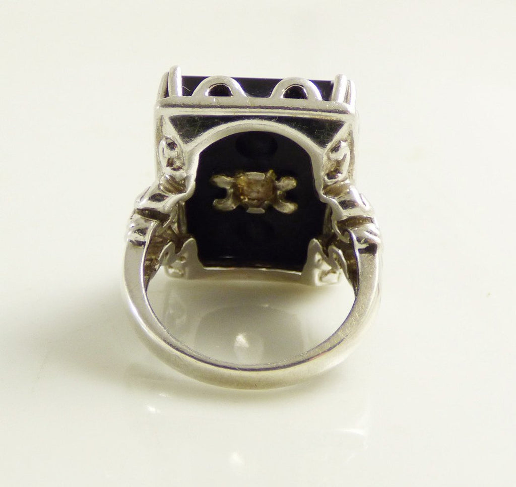 Art Deco Revival Black Onyx Sterling Silver Victoria Wieck Ring - Vintage Lane Jewelry