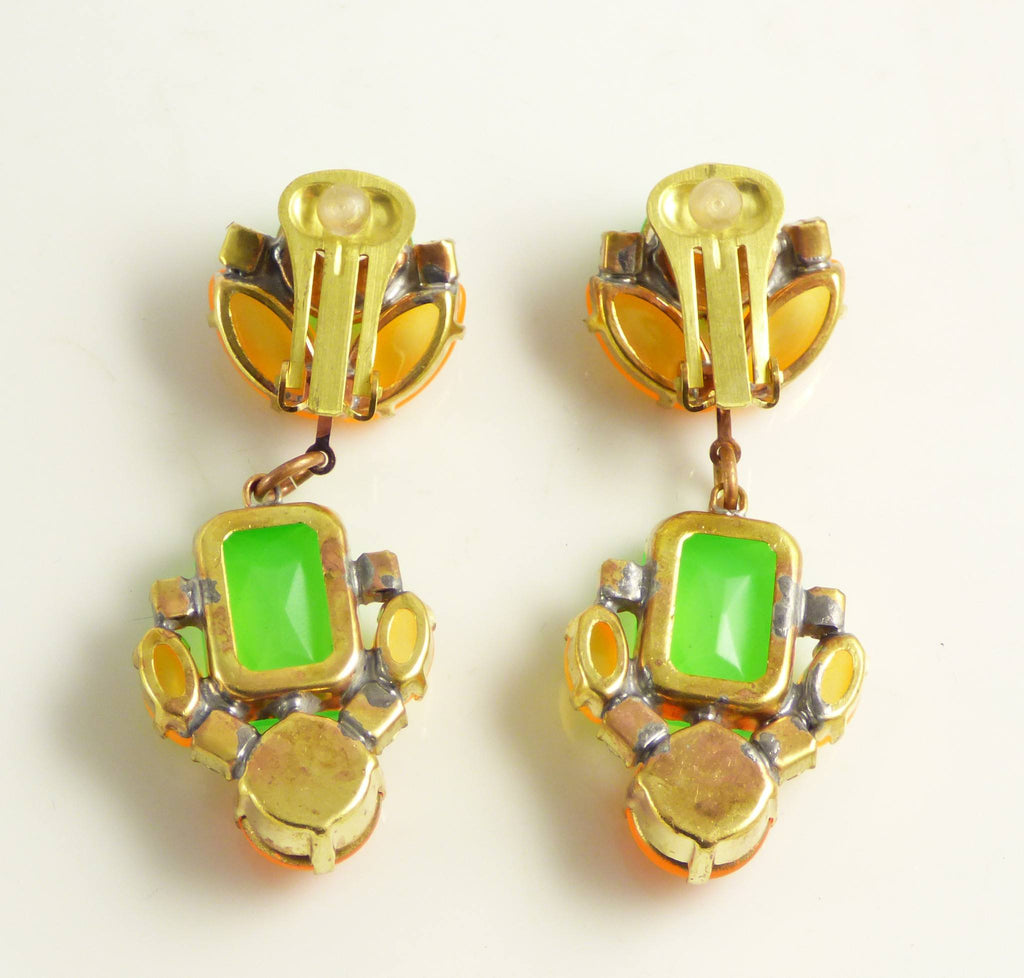 Czech Neon Green and Orange Clip Earrings - Vintage Lane Jewelry