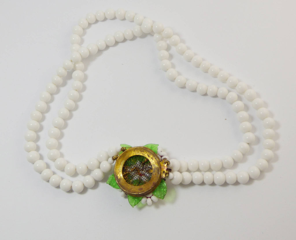 Early Miriam Haskell White Glass Daisy Cluster 2 Strand Necklace, Milk Glass - Vintage Lane Jewelry