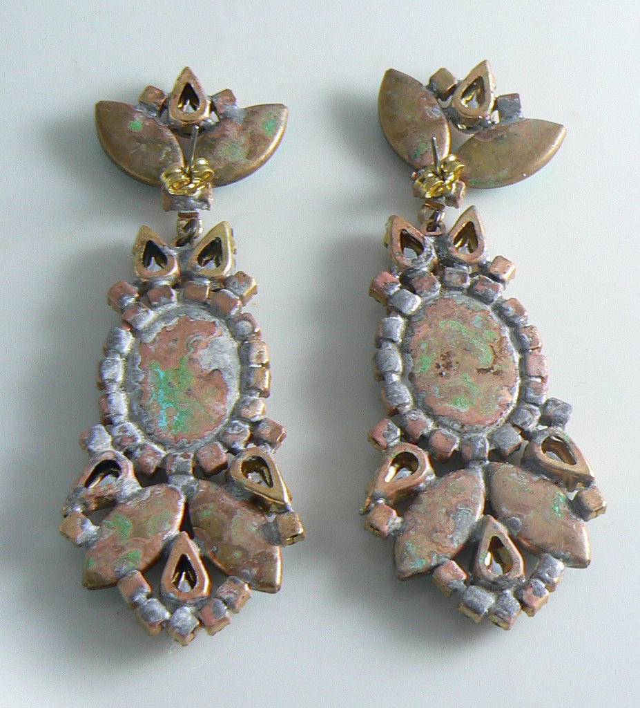 Czech Aqua Glass Rhinestone Cameo Earrings - Vintage Lane Jewelry