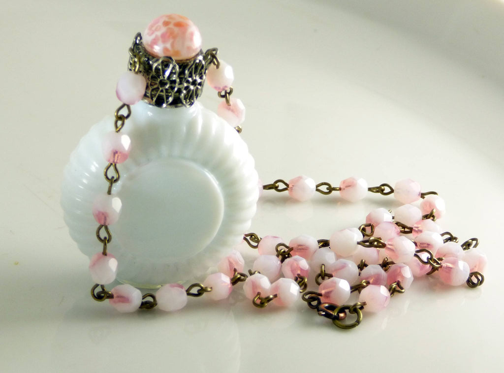 Vintage Czech Milk Glass Perfume Bottle Necklace, Mottled Peach with matching chain - Vintage Lane Jewelry