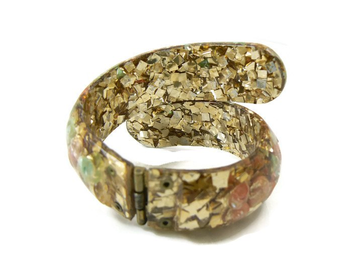 Lucite Gold Confetti Seashell Clamper Bracelet - Vintage Lane Jewelry