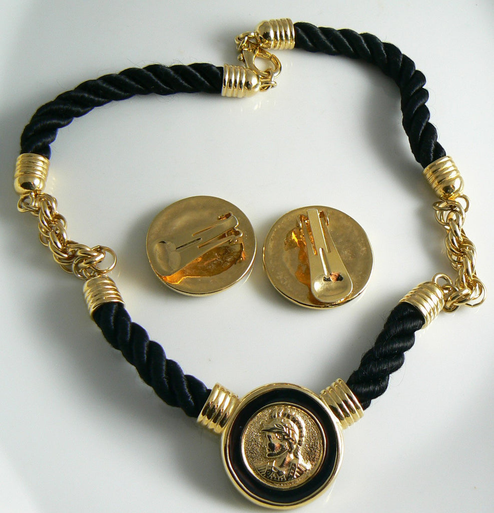 Black Enamel Intaglio Roman Solider Head Necklace Earring Set - Vintage Lane Jewelry