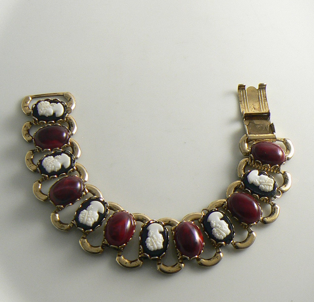 Bookchain bracelet with red cabochons and black cameos - Vintage Lane Jewelry