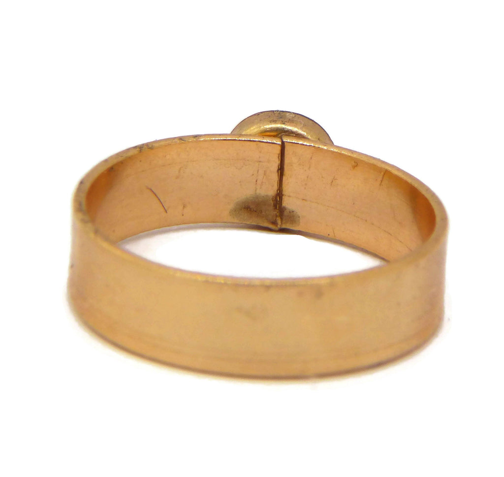 Mood Ring 24K Plated Brushed Gold Band - Vintage Lane Jewelry