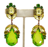 Czech Glass Green Dangle Clip Earrings, Rhinestone - Vintage Lane Jewelry